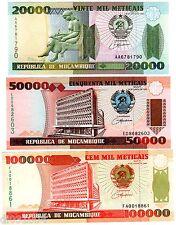 LOT SET SERIE 3 BILLETS Mozambique AFRIQUE  METICAIS 1993 - 1999 NEUF UNC