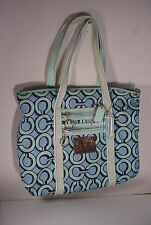 BLUE Coach Poppy 3D Op Art Glamour Tote Large Bag  14983
