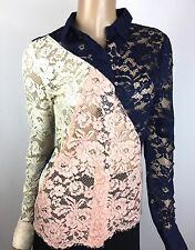 Candela New Colorblock Lace Blouse NWT $381 Sz XS Blue Pink Cream White
