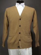 Mint Vtg ANDOVER SHOP Scottish Camel Hair Cardigan Sweater Large Leather Buttons
