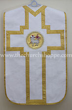 Agnus Dei Roman Chasuble White Fiddleback  Vestment and 5pcs mass set,Casulla