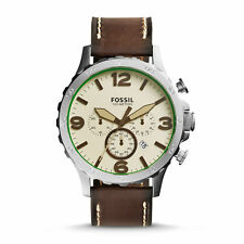 Fossil Nate Men's Chronograph Brown Leather Stainless Steel Date Watch JR1496