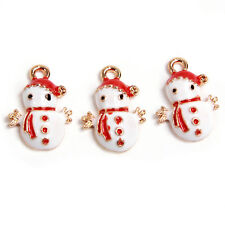 10Pcs New Christmas Red&White Enamel Gold Plated Charms Snowman Alloy Pendants
