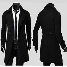 Mens Slim Fit Long Trench Coat Blazer Casual Wool Long Jacket Outwear Parka Tops