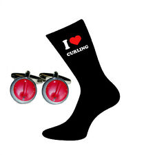 I Love Curling Socks & Curling Stone Cufflinks Gift Set