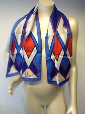 "VERA Neumann red white blue silk oblong Scarf 13""x42"" made in USA hand rolled"