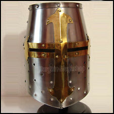 New Medieval Templar Crusader Helmet Armor With Mason's Brass Cross Larp rt10