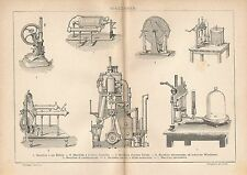 B2516 Macchine - Stampa Antica del 1928 - Incisione - Engraving