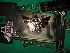 Nwt The Legend of Zelda Metal Triforce Twilight Princess Tri Fold Wallet & Chain