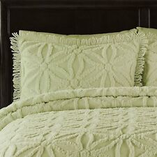 Sage Green Chenille Bedspread Quilt Coverlet 3PC KING Set Honeydew Vintage Look