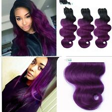 300g/3bundles unprocessed brazillian ombre purple human hair bodywave 12 14 16