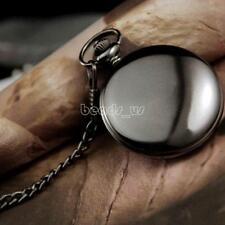 Fashion Retro Vintage Antique Flat Round Pendant Quartz Pocket Watch Necklace