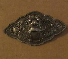 "Antique Victorian Sterling Silver with Interesting Design Brooch Pin - 2 1/2"" D"
