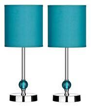Set Of 2 Table Lamp Teal Shade With Acrylic Ball Chrome Finish Base Home Decor