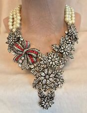HEIDI DAUS Pearl and Red Swarovski Crystal HOLIDAY CLASSIC Crystal Drop Necklace