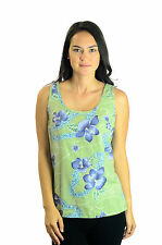 Size S Tommy Bahama 100% Silk Green Tank Top w/Blue Floral Hawaiian Print Blouse