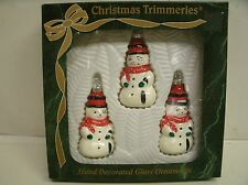Vintage BRADFORD Christmas Trimmers Hand Decorated Glass SNOWMAN ORNAMENTS