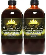 (2) Paradise Oils Jamaican Black Castor Oil 16oz EXTRA DARK Natural FREE SHPPING