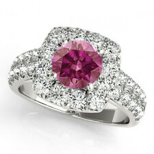 1.50 Carat Pink VS2 Diamond & White Diamond Halo Engagement Ring 14k White Gold