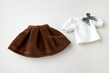 Neo Blythe, Licca Doll Outfits Clothes White T-Shirt and Brown Mini Skirt