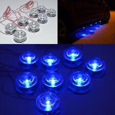 Blue 8 LED Light Round Floor Undercar Decorative Light Lamps For Car DC12V