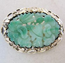 "1.6"" Antique Chinese Vermeil Silver Brooch with 33mm Carved Green Jadeite Jade"