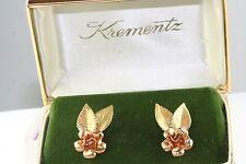 VINTAGE KREMENTZ GOLD FILLED BLOOMING ROSE & LEAF EARRINGS IN ORIGINAL BOX