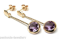 9ct Gold Amethyst long drop Earrings Gift Boxed Made in UK