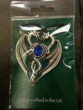 PENDANT ASTRAL PEWTER 2 X DRAGON HEADS BLUE GEM STONE NECKLACE UK FINISH NEW