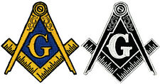 LOT of TWO MASONIC LOGO EMBROIDERED PATCH iron-on FREEMASON SQUARE COMPASS MASON