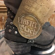 Liberty Black New Size 8 Short Studded Boot Cowboy style LB711511 Retail $279.