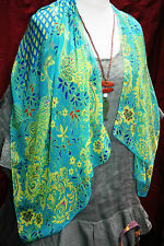 "Striking SILK BLEND Scarf PEACOCK Long Sheer Soft Light 20"" x 60"" Smooth Smart"