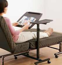 Rolling Height Angle Adjustable Laptop Sofa Couch Bed Table Stand Dual Surfaces