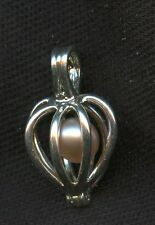 Pearl 5mm Caged In Heart Pendant Charm Vintage Sterling 925 Silver AI672