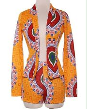 Womens 2-Piece Shorts Set African Tribal Ankara Print Blazer Jacket Short Suit S