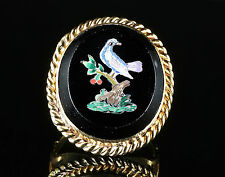 ANTIQUE MICRO MOSAIC BIRD RING LARGE MOSAIC CIRCA 1860
