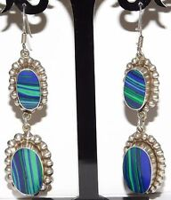 Huge Vintage Sterling Silver & Azurite Taxco Mexico Earrings Pierced Signed