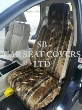 TO FIT A TOYOTA STARLET CAR, SEAT COVERS, NUTMEG STRIPE FAUX FUR 2 FRONTS