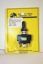 K-FOUR [K-4] (ON)-OFF-(ON) TRIPLE SEALED MOM. SWITCH-12VDC-20A (13-211)