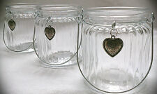 Windlicht Glas Herz 9cm 3er Teelichthalter Henkel Metall shabby Teelicht Rillen