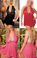 Free Ship!Womens Sexy Halter Lingerie Sleepwear Babydoll DRESS G-string Size8-24