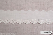 14y Broderie anglaise scallop edge cotton lace trim-white 2.5cm YH1185A laceking