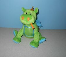"9"" Picture Tummy Green Gragon with Blue Wings Bean Stuffed Plush Animal"