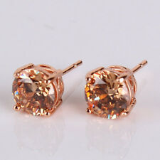 Charming Distinguished 18K rose GF champagne sapphire crystal stud earring