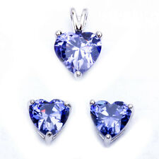 Tanzanite Heart .925 Sterling Silver Earring & Pendant Jewelry set