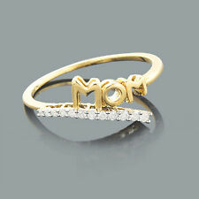 Certified Round 0.06 ct Natural Diamond 10k Yellow Gold MOM Ring