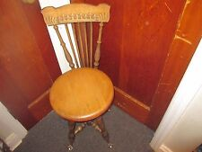 Antique Wooden Piano Organ Stool with back RARE