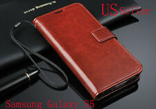 Brown Deluxe PU Leather Wallet Cover Case w/Card Slots for Samsung Galaxy S5