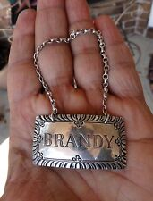 BRANDY STERLING SILVER Decanter Liquor Bottle Tag Label WILLIAMSBURG STIEFF