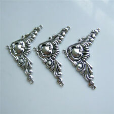 3pcs Large Antique Silver Charm Pendants Connectors Necklace Findings For DIY